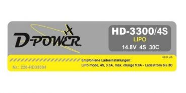 D-Power HD-3300 4S Lipo (11,1V) 30C - XT-60 Stecker